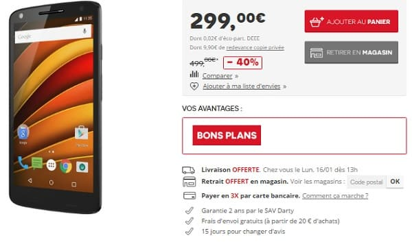 motorola x-force à 299 € chez darty