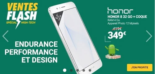 vente flash rue du commerce sur honor 8
