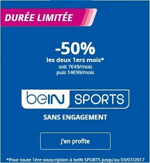 50 % de réduction sur bein sports
