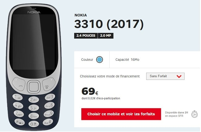 nokia 3310 version 2017 chez sfr