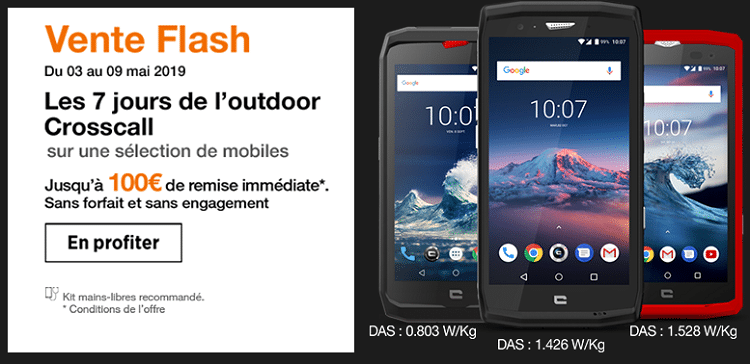 Vente flash orange : Crosscall Core-X3, Action X3 et Trekker-X4 en promo